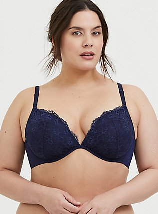 Plus Size Navy Lace 360° Back Smoothing™ Lightly Lined Plunge Bra, PEACOAT, hi-res