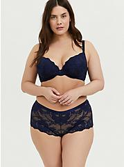 Navy Lace 360° Back Smoothing™ Push-Up Plunge Bra, PEACOAT, alternate