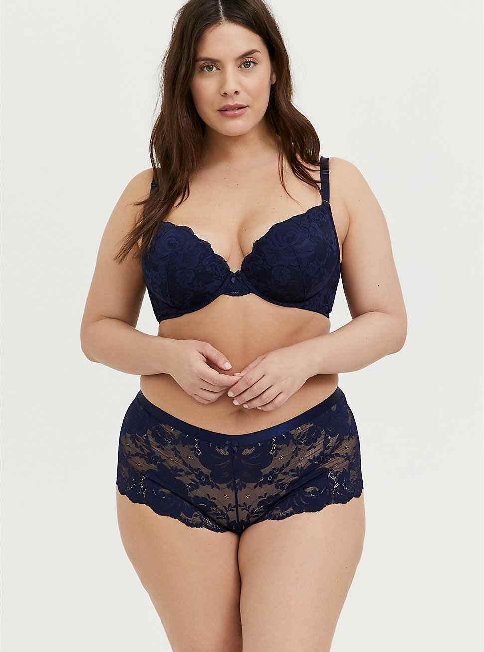 Plus Size Lace 360 Back Smoothing™ Push-Up Plunge Bra and Cheeky Panty, , hi-res
