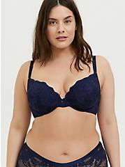 Navy Lace 360° Back Smoothing™ Push-Up Plunge Bra, PEACOAT, hi-res