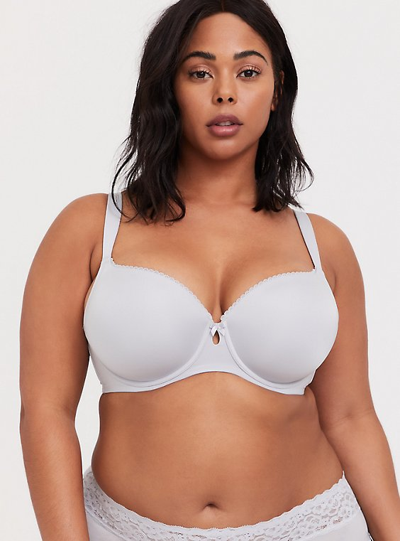 Plus Size Light Grey Microfiber Lightly Lined T-Shirt Bra, , hi-res