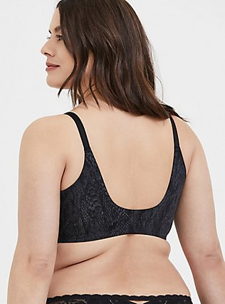 Black Snakeskin Print Front Clasp 360° Back Smoothing™ Lightly Lined T-Shirt Bra, SNAKESKIN-BLACK, alternate