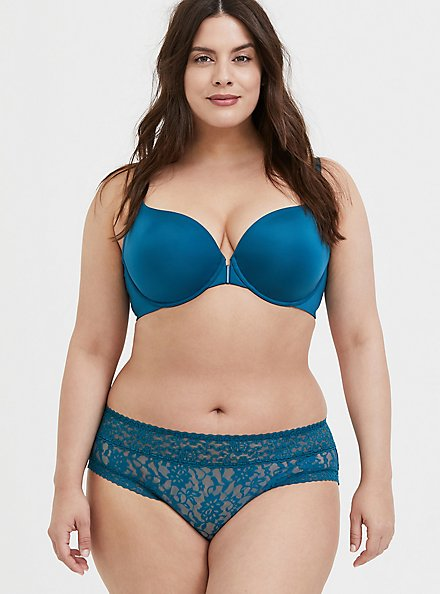 Plus Size Teal Blue Front Clasp 360° Back Smoothing™ Lightly Lined T-Shirt Bra, BLUE CORAL- BLUE, alternate