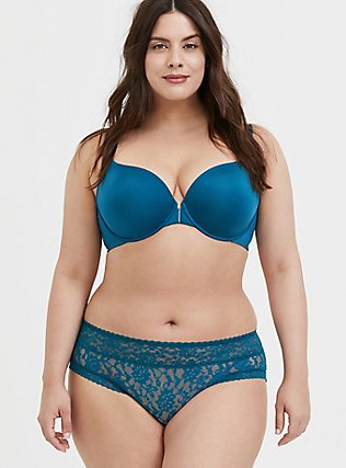 Teal Blue Front Clasp 360° Back Smoothing™ Lightly Lined T-Shirt Bra, , alternate