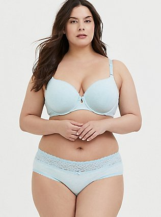 Plus Size Heathered Aqua Blue 360° Back Smoothing™ Lightly Lined Cotton T-Shirt Bra, , alternate