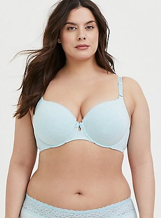 Heathered Aqua Blue 360° Back Smoothing™ Lightly Lined Cotton T-Shirt Bra, , hi-res