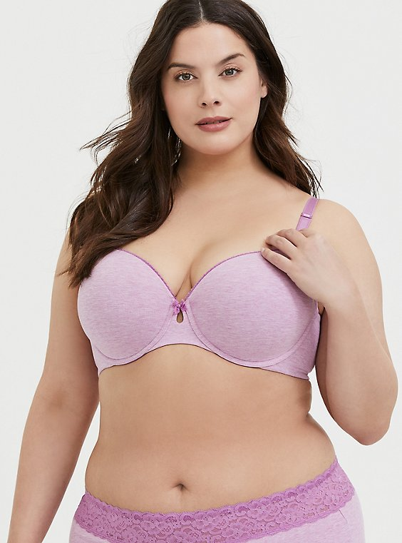 Heather Lavender Purple Cotton 360° Back Smoothing™ Lightly Lined T-Shirt Bra, , hi-res
