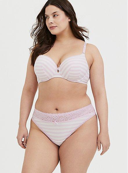 Plus Size Light Pink Stripe Cotton 360° Back Smoothing™ Lightly Lined T-Shirt Bra, PURPLE STRIPE, alternate