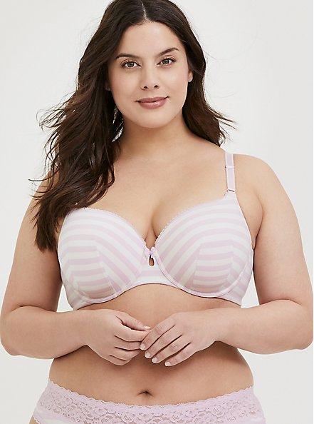 Plus Size Light Pink Stripe Cotton 360° Back Smoothing™ Lightly Lined T-Shirt Bra, PURPLE STRIPE, hi-res