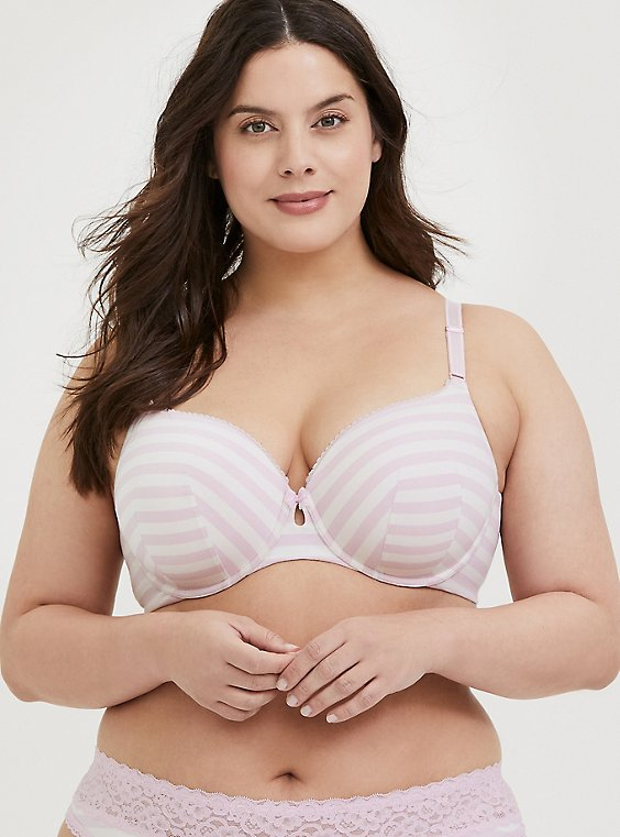 Light Pink Stripe Cotton 360° Back Smoothing™ Lightly Lined T-Shirt Bra, , hi-res
