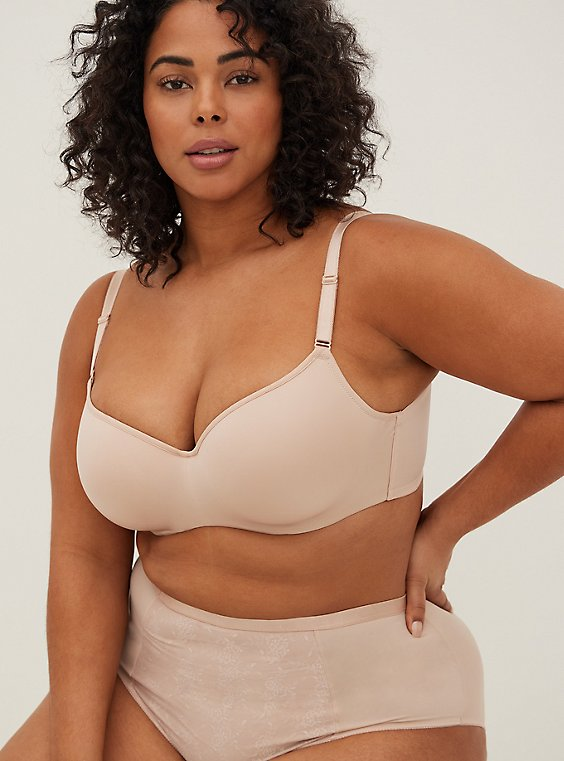Plus Size Nude 360° Back Smoothing™ Lightly Lined Full Coverage Balconette Bra, , hi-res