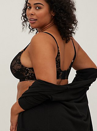 Nude & Black Lace 360° Back Smoothing™ Lightly Lined Full Coverage Balconette Bra, RICH BLACK AND ROEBUCK BEIGE, alternate