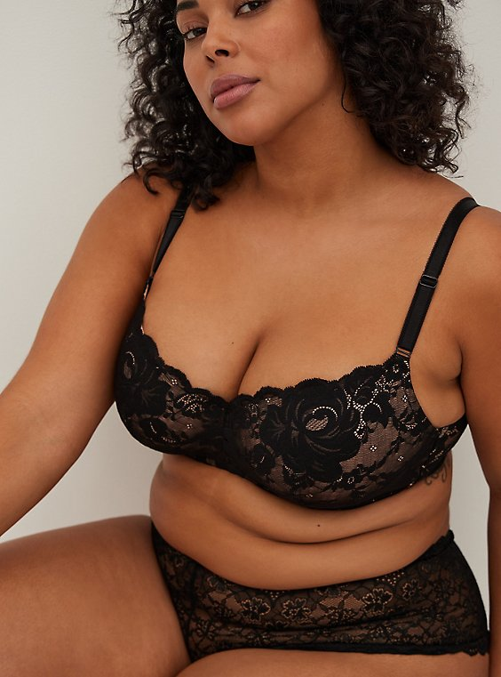 Plus Size Nude & Black Lace 360° Back Smoothing™ Lightly Lined Full Coverage Balconette Bra, , hi-res