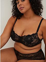 Black Lace 360° Back Smoothing™ Lightly Lined Full Coverage Balconette Bra, RICH BLACK AND ROEBUCK BEIGE, hi-res