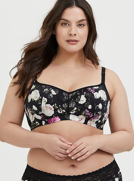 Black Floral 360° Back Smoothing™ Lightly Lined Maximum Support Full Coverage Bra, , hi-res