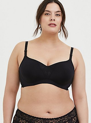 Plus Size Black 360° Back Smoothing™ Maximum Support Lightly Lined Full Coverage Bra, RICH BLACK, hi-res