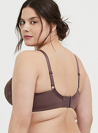 Plus Size Light Brown Lace Maximum Support Full Coverage Lightly Lined Bra, , alternate