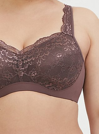 Plus Size Light Raisin Brown Lace Maximum Support Full Coverage Lightly Lined Bra, BROWN, alternate