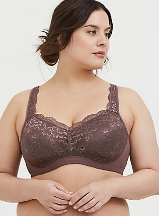 Plus Size Light Raisin Brown Lace Maximum Support Full Coverage Lightly Lined Bra, BROWN, hi-res