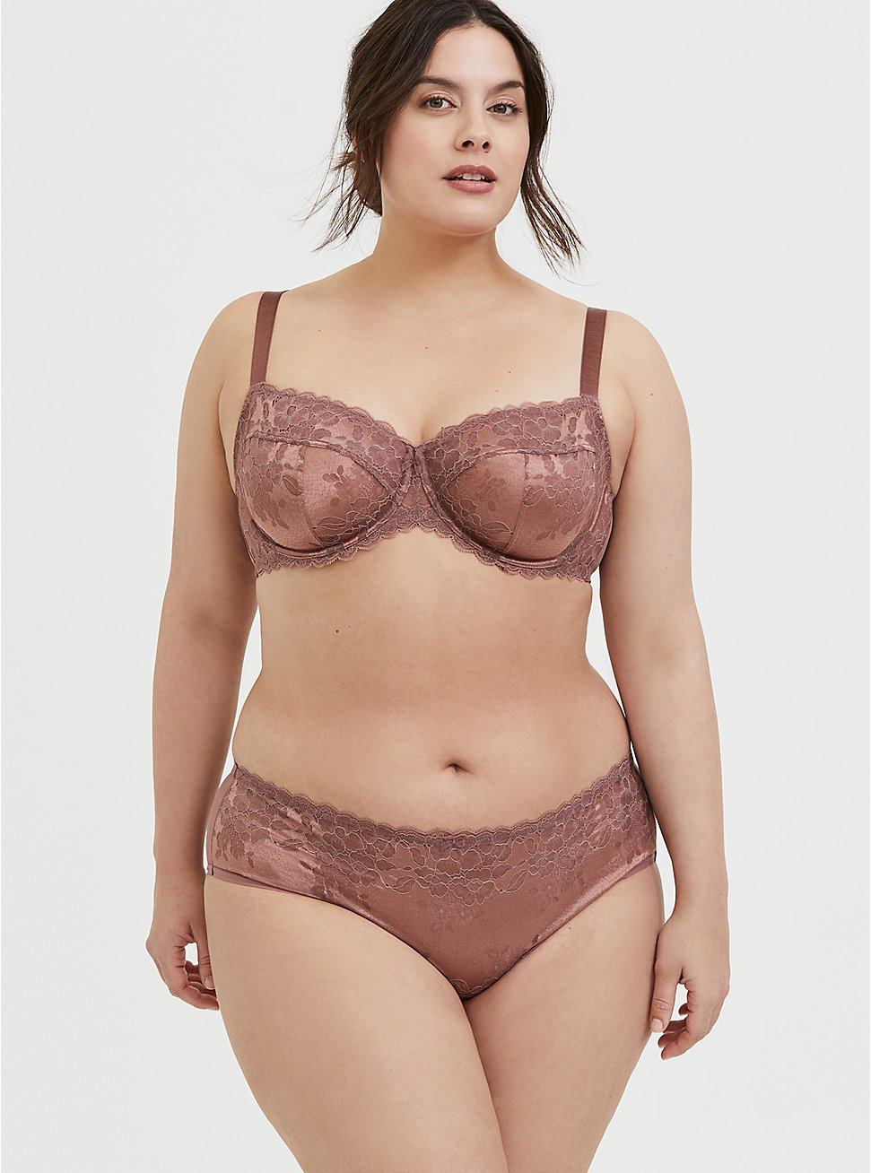 Walnut Lace Unlined Full Coverage Bra and Hipster Panty, , hi-res