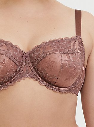 Walnut Lace Unlined Full Coverage Bra, WALNUT, alternate