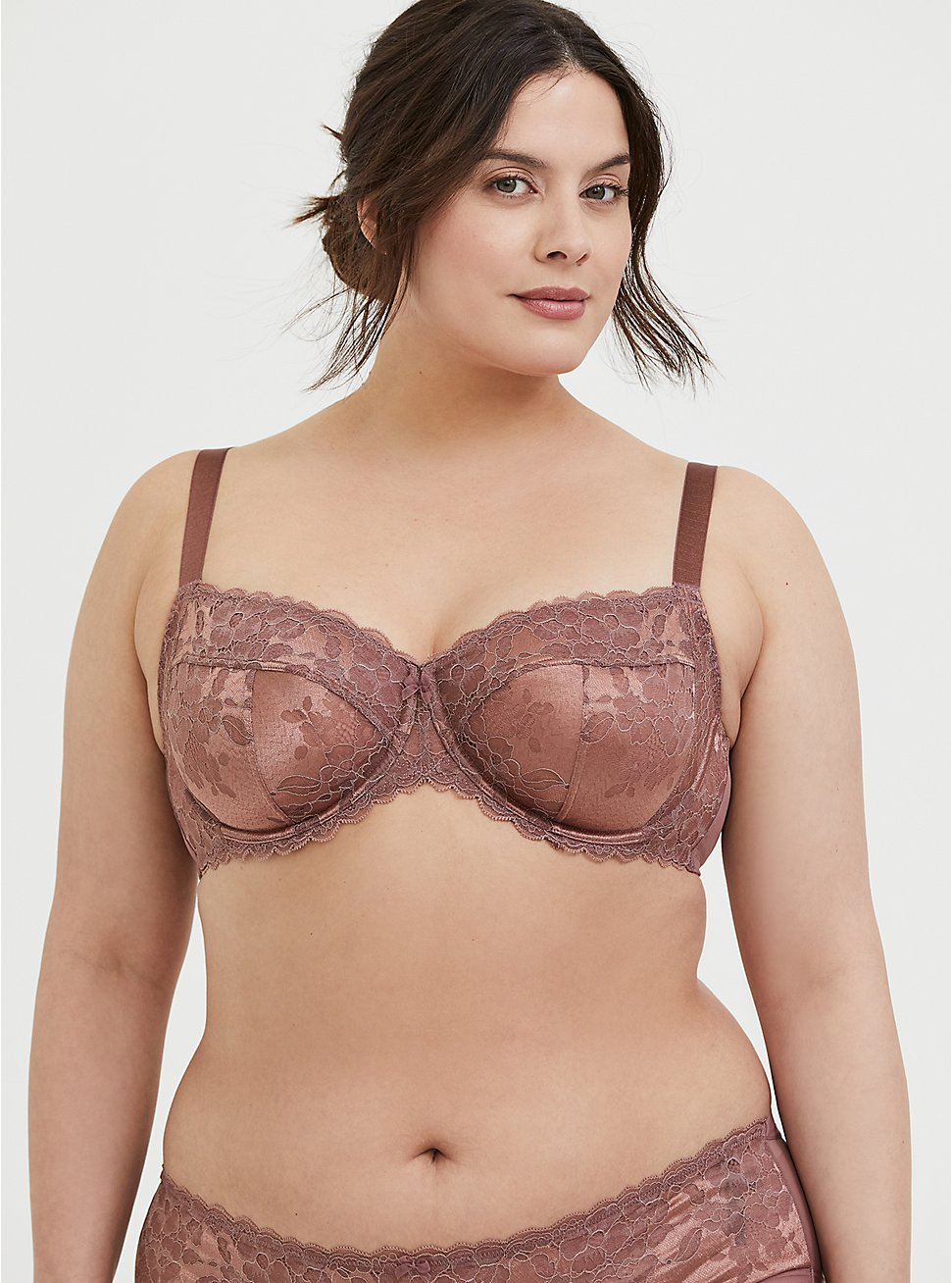 Plus Size Walnut Lace Unlined Full Coverage Bra, , hi-res