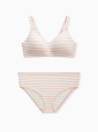 Plus Size Light Pink Stripe 360° Back Smoothing™ Lightly Lined Everyday Wire-Free Bra, PINK STRIPE, alternate