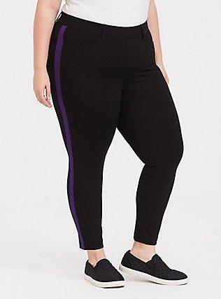Premium Ponte Pull-On Sky High Trouser - Black with Purple Stripe, DEEP BLACK, alternate
