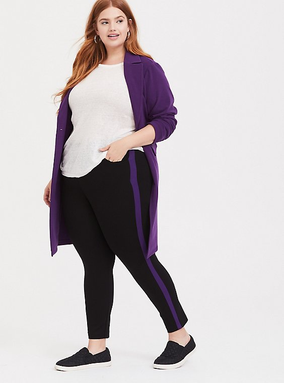 Plus Size Premium Ponte Pull-On Sky High Trouser - Black with Purple Stripe, , hi-res