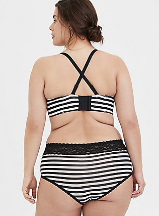 Plus Size Black & White Striped Push-Up Strapless Multiway Bra, RICH BLACK WHITE STRIPE, alternate