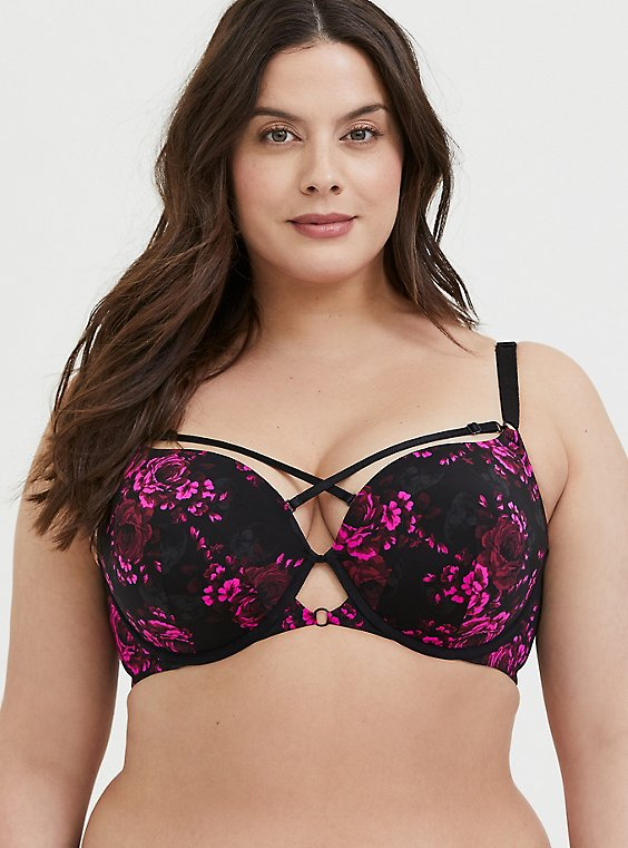 Plus Size Black & Hot Pink Floral Skull 360° Back Smoothing™ Strappy Push-Up T-Shirt Bra, , hi-res