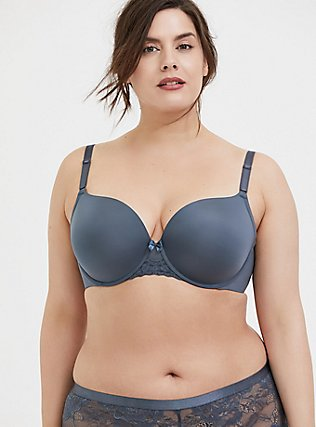 Plus Size Stone Grey 360° Back Smoothing™ Push-Up T-Shirt Bra, , hi-res