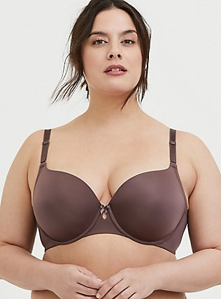 Plus Size Raisin Brown 360° Back Smoothing™ Lightly Lined T-Shirt Bra, BROWN, hi-res