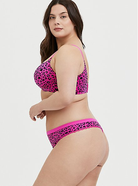 Hot Pink Leopard Heart 360° Back Smoothing™ Lightly Lined T-Shirt Bra, LEOPARD - PINK, alternate