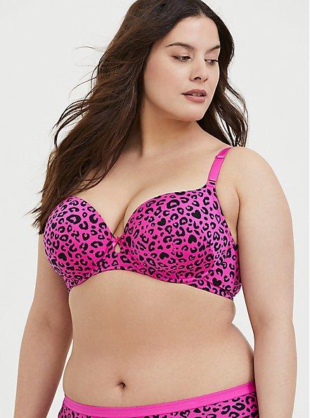 Plus Size Hot Pink Leopard Heart 360° Back Smoothing™ Lightly Lined T-Shirt Bra, LEOPARD - PINK, hi-res