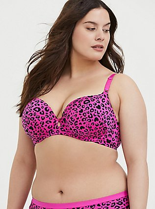 Hot Pink Leopard Heart 360° Back Smoothing™ Lightly Lined T-Shirt Bra, , hi-res