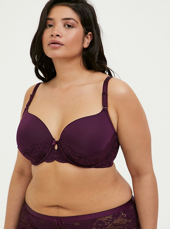 Plus Size Grape Purple 360° Back Smoothing™ Lightly Lined T-Shirt Bra , , hi-res