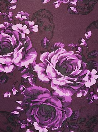 Plus Size Purple Skull Floral Wide Lace Shine Brief Panty, SKULL GARDENS, alternate