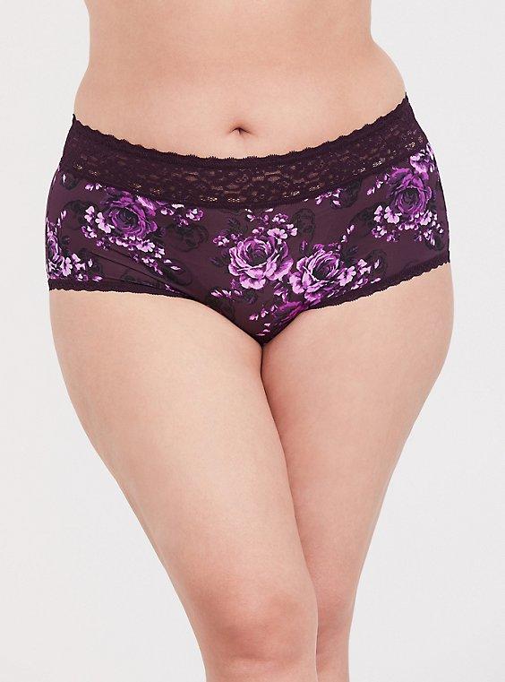 Purple Skull Floral Wide Lace Shine Brief Panty, , hi-res