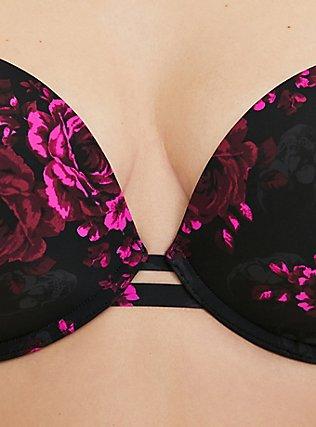 Black & Hot Pink Skull Floral 360° Back Smoothing™ Lightly Lined Plunge Bra , SKULL GARDENS, alternate