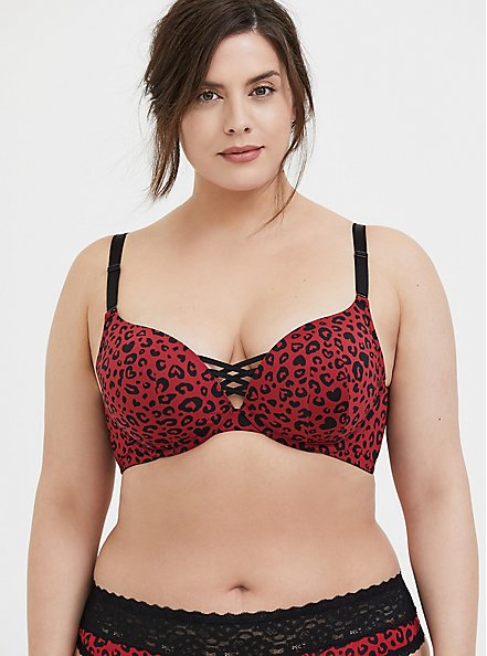 Plus Size Red Leopard 360° Back Smoothing™ Corset Push-Up Plunge Bra, , hi-res