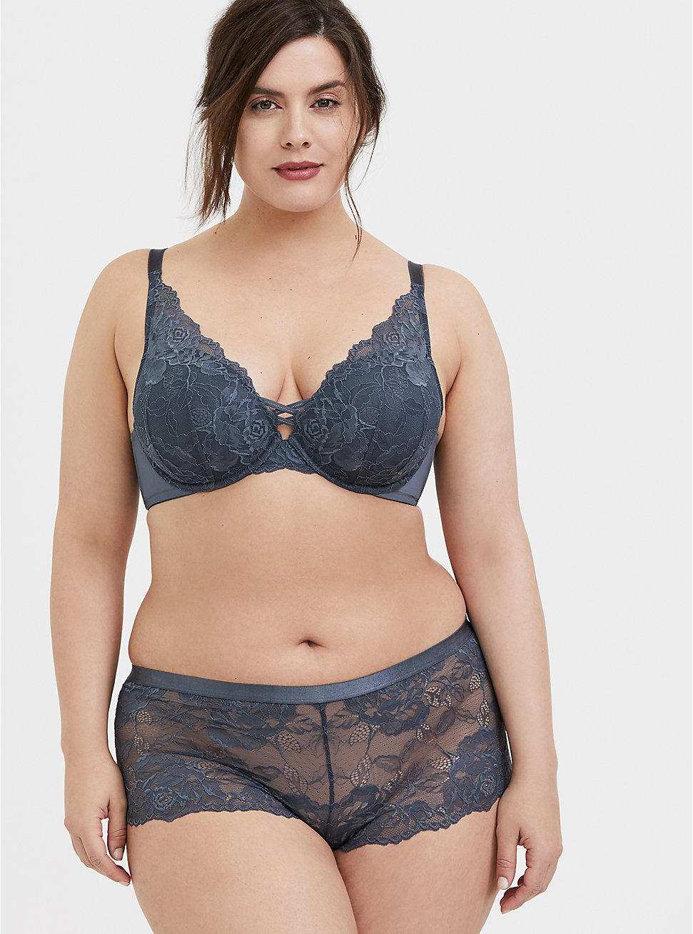 Plus Size Grey Lace Corset Push-Up Plunge Bra and Cheeky Panty, , hi-res