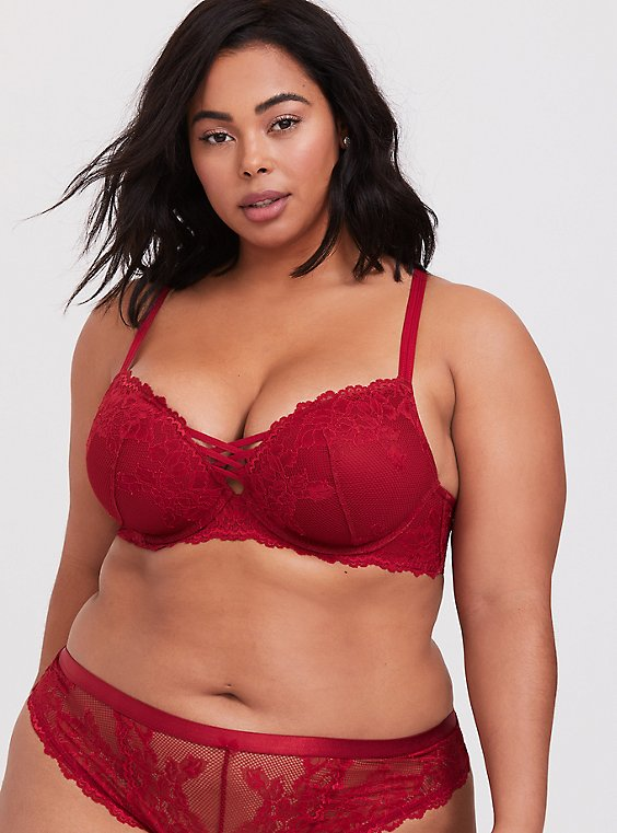 Red Lace Corset Push-Up Plunge Bra, , hi-res