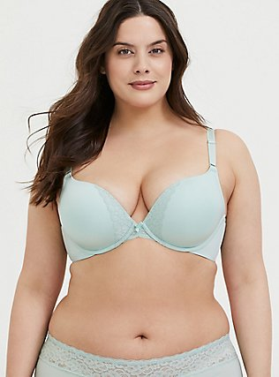 Mint Green 360° Back Smoothing™ Push-Up Plunge Bra, HARBOR GREY, hi-res