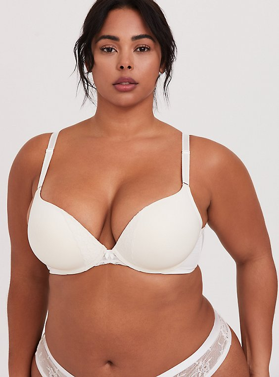 Plus Size Ivory 360° Back Smoothing™ Push-Up Plunge Bra, , hi-res