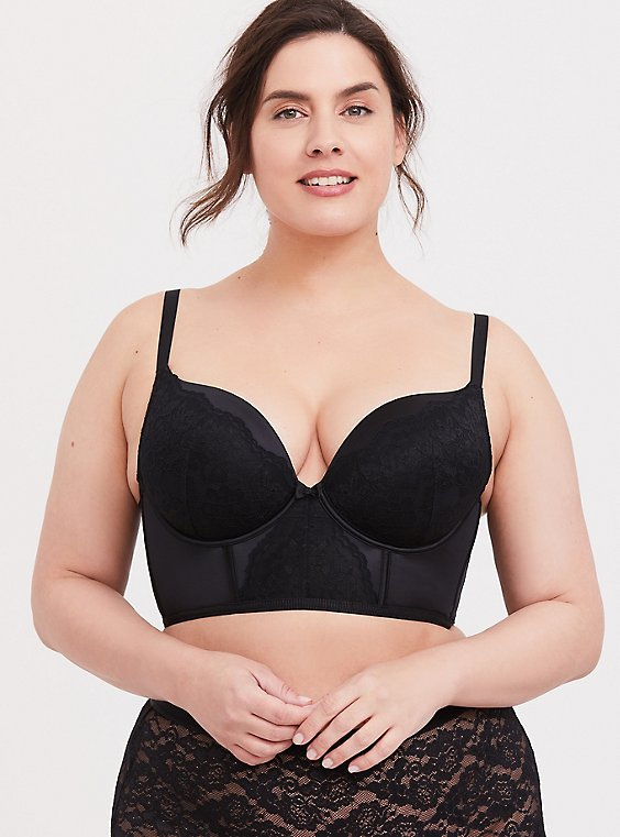 Plus Size Black Microfiber & Lace Push-Up Plunge Longline Bra, , hi-res