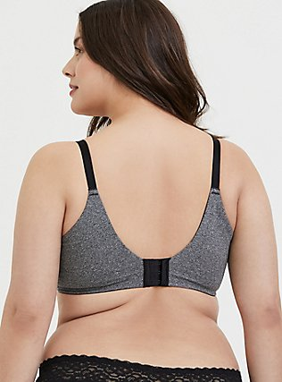 Heathered Grey 360° Back Smoothing™ Push-Up Cotton Plunge Bra, DARK HEATHER, alternate