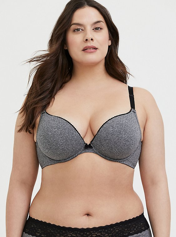 Heather Grey Cotton 360° Back Smoothing™ Push-Up Plunge Bra, , hi-res