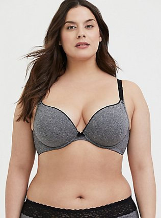 Plus Size Heathered Grey 360° Back Smoothing™ Push-Up Cotton Plunge Bra, DARK HEATHER, hi-res