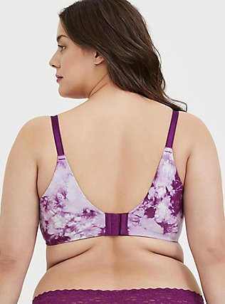 Purple Tie-Dye Cotton 360° Back Smoothing™ Push-Up Plunge Bra, NICE DYE, alternate